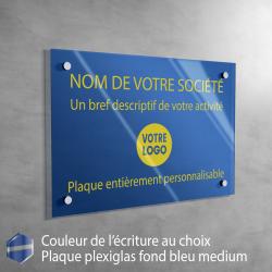 Plaque de boite aux lettres Blanche (écriture bleue) | 10 x 2,5 cm | 1 à 3 lignes