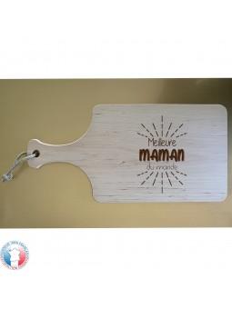 Planche à découper en Bois d'aulne avec AVEC POIGNEE - Gravure Meilleure Maman du Monde | Cadeau fête des mères | 3 modèles