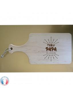 Planche à découper en Bois d'aulne avec AVEC POIGNEE - Gravure Meilleur Papa du Monde | Cadeau fête des pères | 3 modèles
