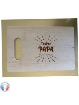 Planche à découper en bois d'aulne RECTANGULAIRE - Gravure Meilleur Papa du Monde | Cadeau fête des pères | 3 modèles