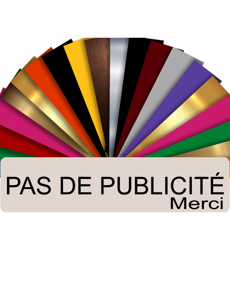 Plaque PAS DE PUBLICITÉ MERCI Adhésive PVC Pour Boîte Aux Lettres - Plaque Stop Pub - 8 cm x 2 cm (Beige)
