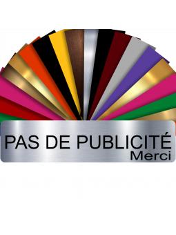Plaque PAS DE PUBLICITÉ MERCI Adhésive PVC Pour Boîte Aux Lettres - Plaque Stop Pub - 8 cm x 2 cm (Gris Alu Brillant)