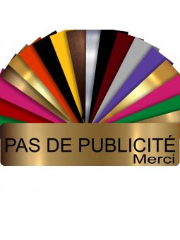Plaque PAS DE PUBLICITÉ MERCI Adhésive PVC Pour Boîte Aux Lettres - Plaque Stop Pub - 8 cm x 2 cm (Or Mat)