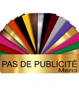 Plaque PAS DE PUBLICITÉ MERCI Adhésive PVC Pour Boîte Aux Lettres - Plaque Stop Pub - 8 cm x 2 cm (Or Brillant)