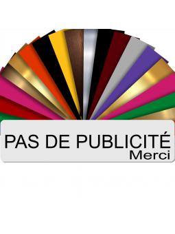 Plaque PAS DE PUBLICITÉ MERCI Adhésive PVC Pour Boîte Aux Lettres - Plaque Stop Pub - 8 cm x 2 cm (Blanc écrit Noir)