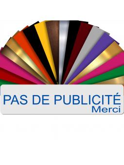 Plaque PAS DE PUBLICITÉ MERCI Adhésive PVC Pour Boîte Aux Lettres - Plaque Stop Pub - 8 cm x 2 cm (Blanc écrit Bleu)