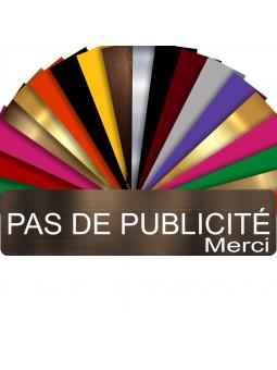 Plaque PAS DE PUBLICITÉ MERCI Adhésive PVC Pour Boîte Aux Lettres - Plaque Stop Pub - 8 cm x 2 cm (Bronze écrit Blanc)