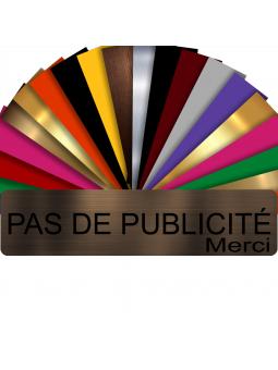 Plaque PAS DE PUBLICITÉ MERCI Adhésive PVC Pour Boîte Aux Lettres - Plaque Stop Pub - 8 cm x 2 cm (Bronze écrit Noir)