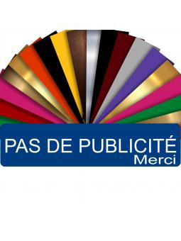 Plaque PAS DE PUBLICITÉ MERCI Adhésive PVC Pour Boîte Aux Lettres - Plaque Stop Pub - 8 cm x 2 cm (Bleu)