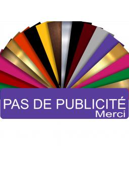 Plaque PAS DE PUBLICITÉ MERCI Adhésive PVC Pour Boîte Aux Lettres - Plaque Stop Pub - 8 cm x 2 cm (Violet)