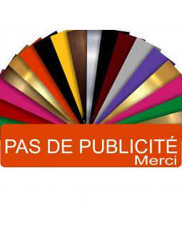 Plaque PAS DE PUBLICITÉ MERCI Adhésive PVC Pour Boîte Aux Lettres - Plaque Stop Pub - 8 cm x 2 cm (Orange)