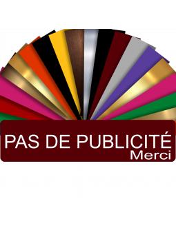 Plaque PAS DE PUBLICITÉ MERCI Adhésive PVC Pour Boîte Aux Lettres - Plaque Stop Pub - 8 cm x 2 cm (Bordeaux)