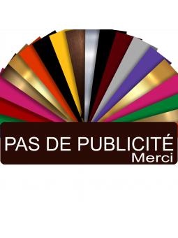 Plaque PAS DE PUBLICITÉ MERCI Adhésive PVC Pour Boîte Aux Lettres - Plaque Stop Pub - 8 cm x 2 cm (Marron)