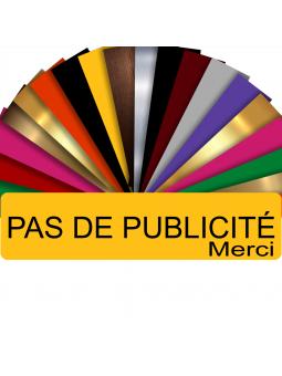 Plaque PAS DE PUBLICITÉ MERCI Adhésive PVC Pour Boîte Aux Lettres - Plaque Stop Pub - 8 cm x 2 cm (Jaune)