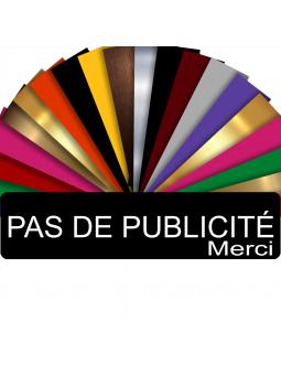 Plaque PAS DE PUBLICITÉ MERCI Adhésive PVC Pour Boîte Aux Lettres - Plaque Stop Pub - 8 cm x 2 cm (Noir)