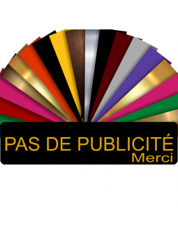 Plaque PAS DE PUBLICITÉ MERCI Adhésive PVC Pour Boîte Aux Lettres - Plaque Stop Pub - 8 cm x 2 cm (Noir écrit Or)