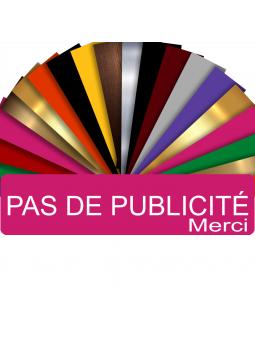Plaque PAS DE PUBLICITÉ MERCI Adhésive PVC Pour Boîte Aux Lettres - Plaque Stop Pub - 8 cm x 2 cm (Rose)