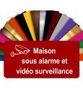 Plaque - Maison Sous Alarme Et Vidéosurveillance - Autocollante – Plaque De Maison PVC Adhésive 10 x 5 cm (Rouge)
