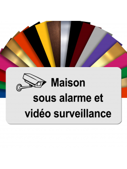 Plaque - Maison Sous Alarme Et Vidéosurveillance - Autocollante – Plaque De Maison PVC Adhésive 10 x 5 cm (Blanc écrit Noir)