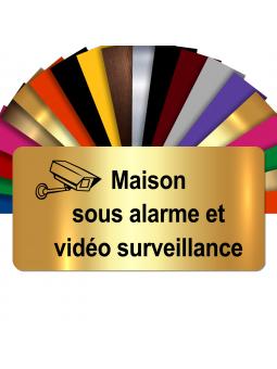 Plaque - Maison Sous Alarme Et Vidéosurveillance - Autocollante – Plaque De Maison PVC Adhésive 10 x 5 cm (Or Brillant)