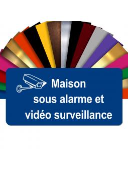 Plaque - Maison Sous Alarme Et Vidéosurveillance - Autocollante – Plaque De Maison PVC Adhésive 10 x 5 cm (Bleu)