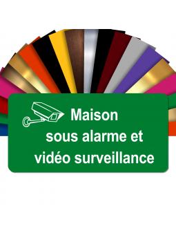 Plaque - Maison Sous Alarme Et Vidéosurveillance - Autocollante – Plaque De Maison PVC Adhésive 10 x 5 cm (Vert)