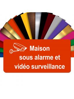 Plaque - Maison Sous Alarme Et Vidéosurveillance - Autocollante – Plaque De Maison PVC Adhésive 10 x 5 cm (Orange)