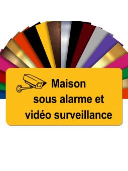 Plaque - Maison Sous Alarme Et Vidéosurveillance - Autocollante – Plaque De Maison PVC Adhésive 10 x 5 cm (Jaune)