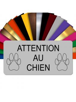 Plaque Attention Au Chien Autocollante – Plaque De Maison PVC Adhésive 10 x 5 cm (Gris Mat)