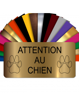Plaque Attention Au Chien Autocollante – Plaque De Maison PVC Adhésive 10 x 5 cm (Or Mat)