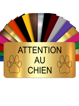 Plaque Attention Au Chien Autocollante – Plaque De Maison PVC Adhésive 10 x 5 cm (Or Brillant)