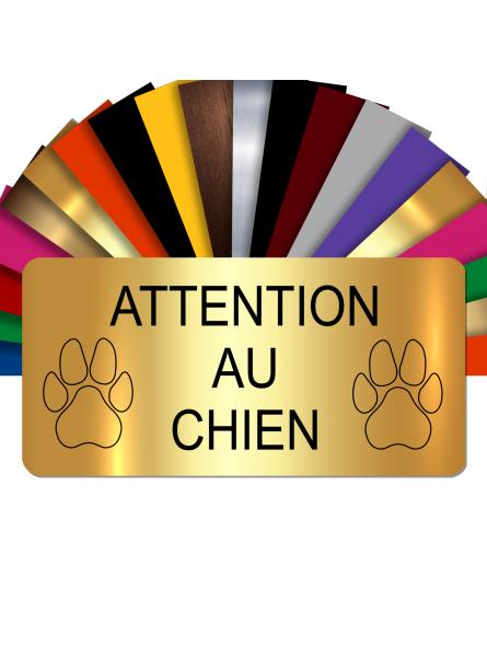 Plaque Attention Au Chien Autocollante – Plaque De Maison PVC Adhésive 10 x 5 cm (Or Brillant)