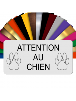 Plaque Attention Au Chien Autocollante – Plaque De Maison PVC Adhésive 10 x 5 cm (Blanc écrit Noir)