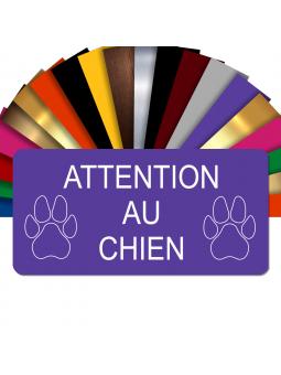 Plaque Attention Au Chien Autocollante – Plaque De Maison PVC Adhésive 10 x 5 cm (Violet)