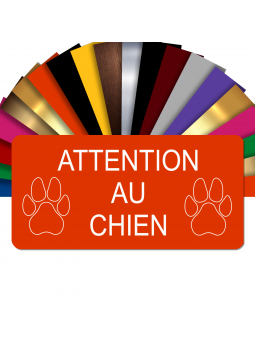 Plaque Attention Au Chien Autocollante – Plaque De Maison PVC Adhésive 10 x 5 cm (Orange)