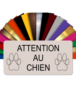 Plaque Attention Au Chien Autocollante – Plaque De Maison PVC Adhésive 10 x 5 cm (Beige)