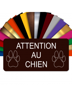 Plaque Attention Au Chien Autocollante – Plaque De Maison PVC Adhésive 10 x 5 cm (Marron)