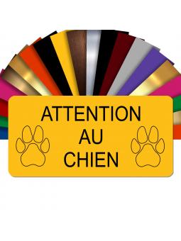Plaque Attention Au Chien Autocollante – Plaque De Maison PVC Adhésive 10 x 5 cm (Jaune)