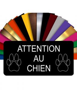 Plaque Attention Au Chien Autocollante – Plaque De Maison PVC Adhésive 10 x 5 cm (Noir)