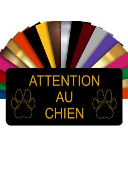 Plaque Attention Au Chien Autocollante – Plaque De Maison PVC Adhésive 10 x 5 cm (Noir écrit Or)