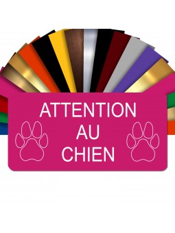 Plaque Attention Au Chien Autocollante – Plaque De Maison PVC Adhésive 10 x 5 cm (Rose)