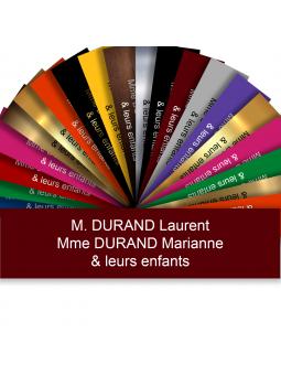 Plaque Boite Aux Lettres Adhésive PVC – Plaque Gravée À Personnaliser 10 x 2,5 cm (Bordeaux)