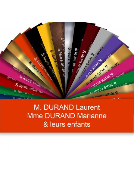 Plaque Boite Aux Lettres Adhésive PVC – Plaque Gravée À Personnaliser 10 x 2,5 cm (Orange)