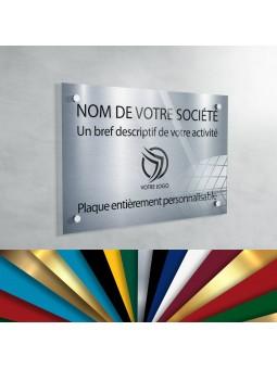 Plaque Professionnelle Plexiglas - Plaque Gravée À Personnaliser 30 x 20 cm (fond Argent)