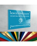 Plaque professionnelle en plexiglas fond Bleu Ciel à personnaliser | 30 x 20 cm