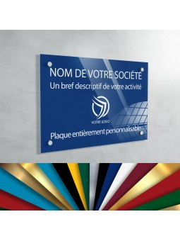 Plaque Professionnelle Plexiglas - Plaque Gravée À Personnaliser 30 x 20 cm (fond Bleu Medium)