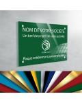 Plaque professionnelle en plexiglas fond Vert Jardin à personnaliser | 30 x 20 cm