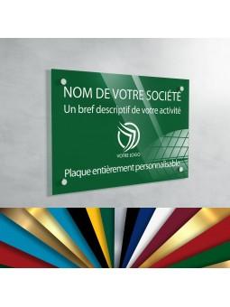Plaque Professionnelle Plexiglas - Plaque Gravée À Personnaliser 30 x 20 cm (fond Vert Jardin)