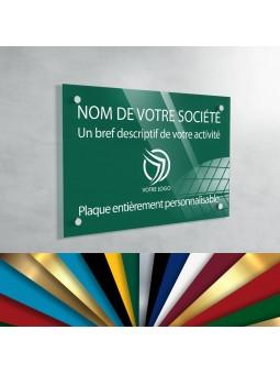 Plaque Professionnelle Plexiglas - Plaque Gravée À Personnaliser 30 x 20 cm (fond Vert Medium)