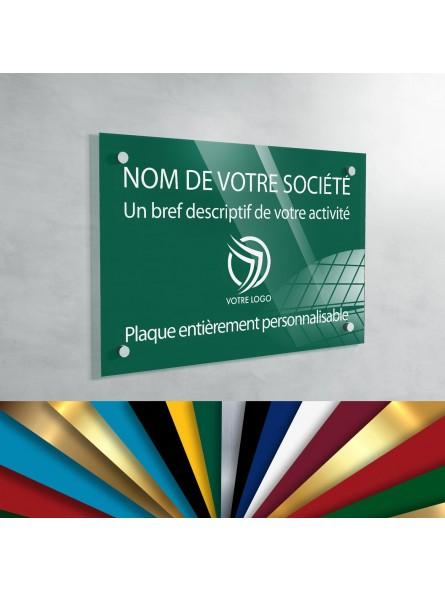 Plaque professionnelle en plexiglas fond Vert Medium à personnaliser | 30 x 20 cm